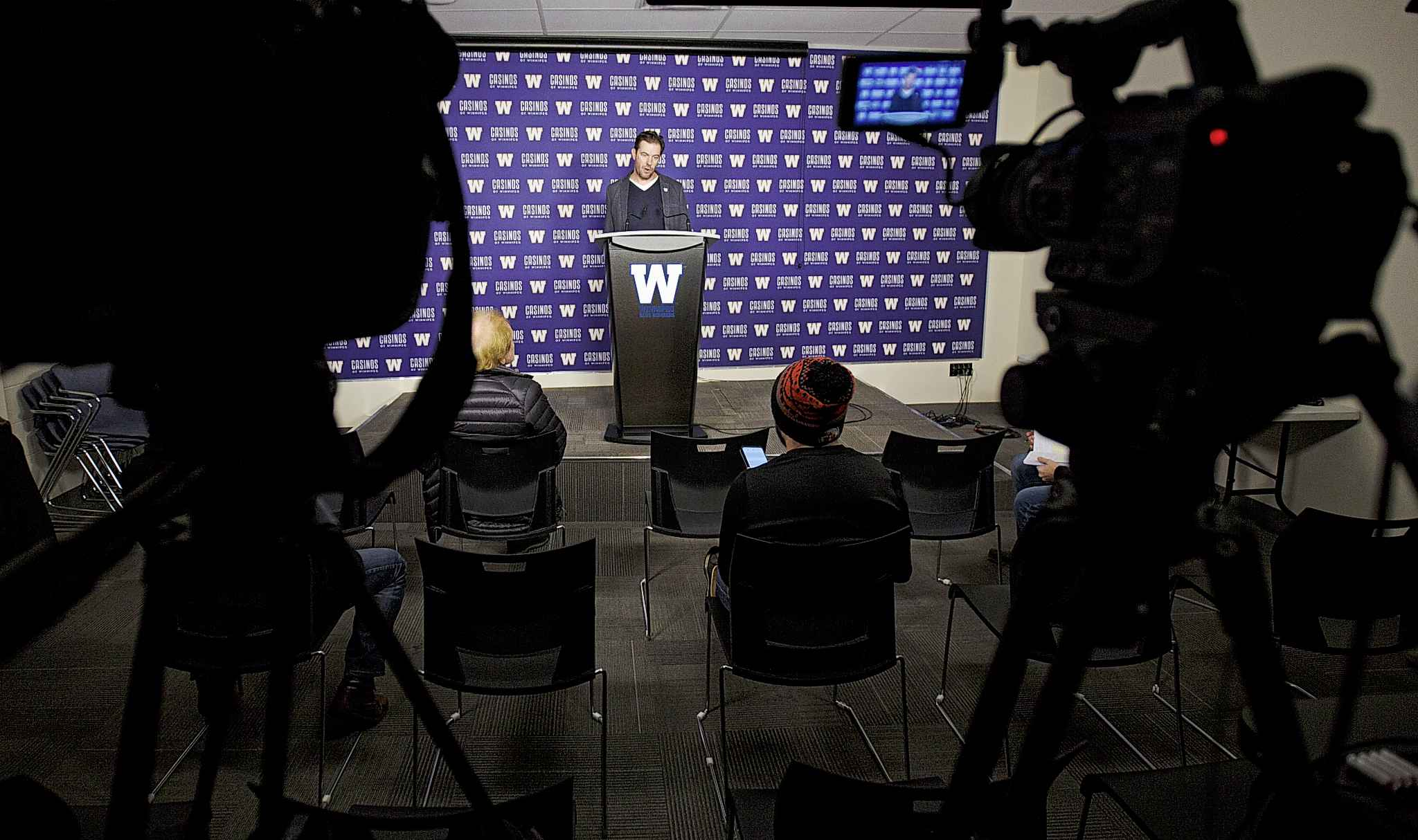 Winnipeg Blue Bombers General Manager Kyle Walters in the Press Room at Investors Group Field.