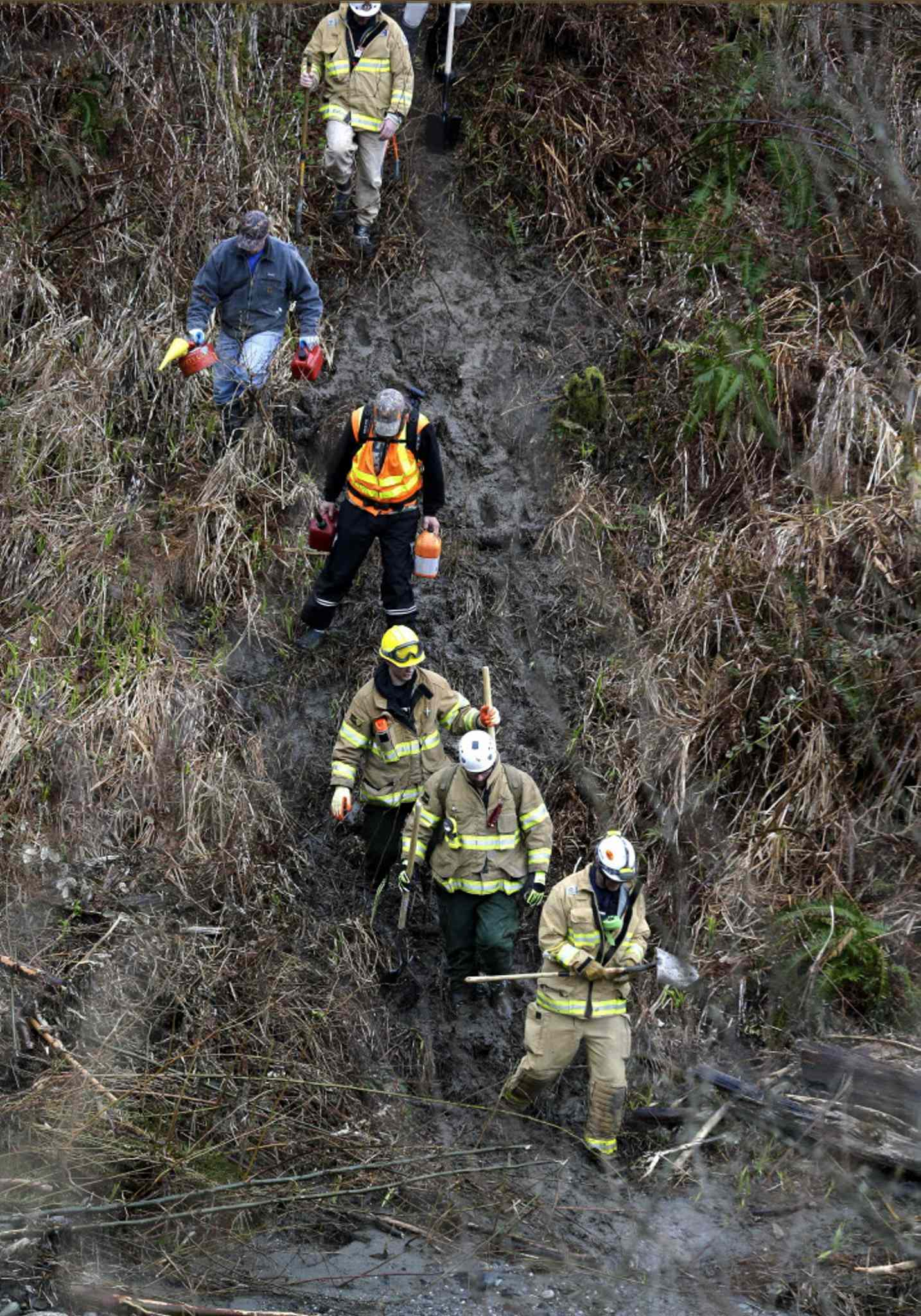 Volunteers and firefighters with chainsaws and hand tools hike down toward the scene.