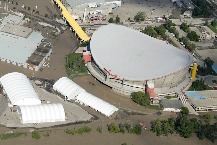 The Calgary Saddledome is seen from above Saturday.