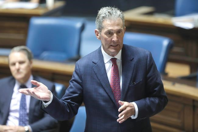 Premier Brian Pallister responds to questions from Manitoba opposition NDP Leader Wab Kinew during question and answer period at the Legislative Building on Wednesday, May 20, 2020. THE CANADIAN PRESS/Ruth Bonneville - POOL