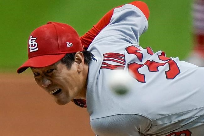 St. Louis Cardinals starting pitcher Kwang Hyun Kim throws during the first inning of the first game of a baseball doubleheader against the Milwaukee Brewers Monday, Sept. 14, 2020, in Milwaukee. (AP Photo/Morry Gash)