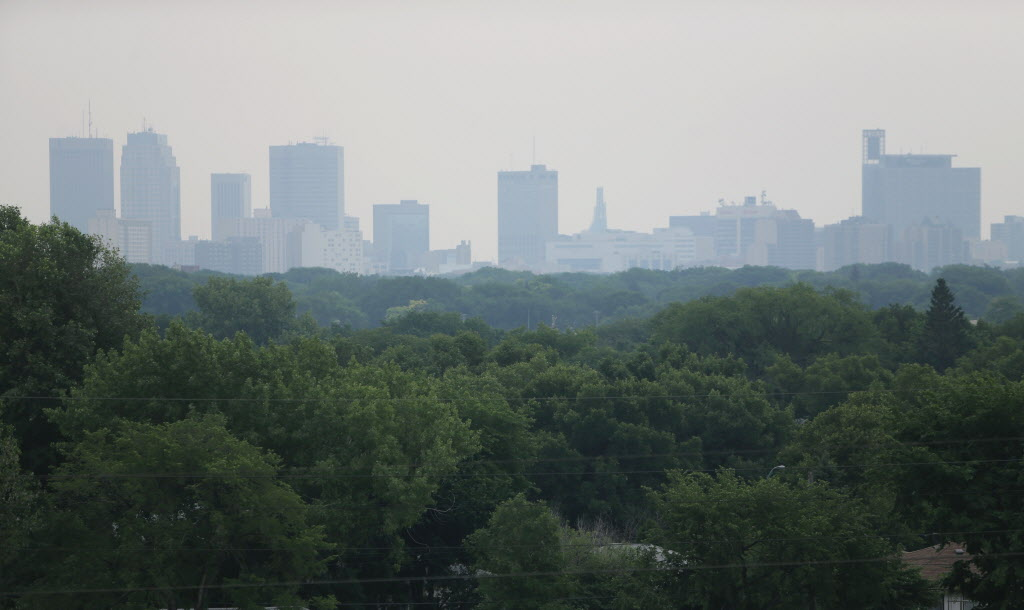 A hazy view towards downtown Winnipeg.