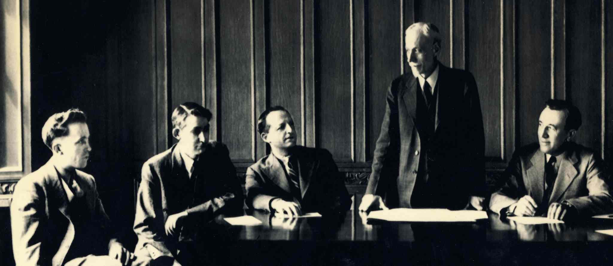 From left: Tommy Douglas, Andus MacInnis, A.A. Heaps, J.S. Woodsworth, and M.J. Coldwell in an early CCF strategy meeting on Parliament Hill in 1935.  (The Canadian Press)