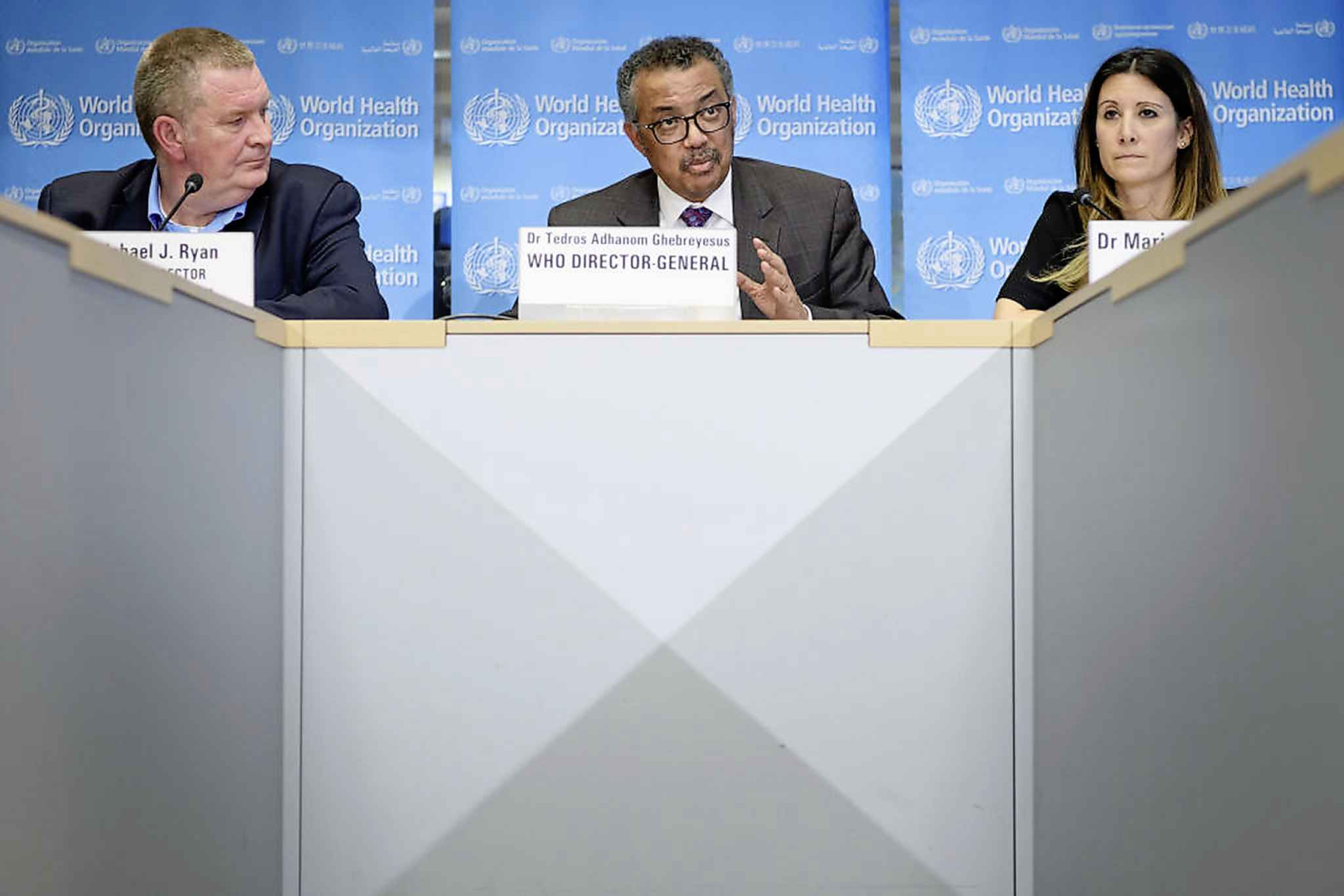 From left, World Health Organization (WHO) Health Emergencies Programme Director Dr. Michael J. Ryan, WHO Director-General Tedros Adhanom Ghebreyesus and WHO Technical Lead Maria Van Kerkhove attend a daily press briefing on COVID-19 at the WHO headquarters last week in Geneva. (Fabrice Coffrini / Tribune Media Services)