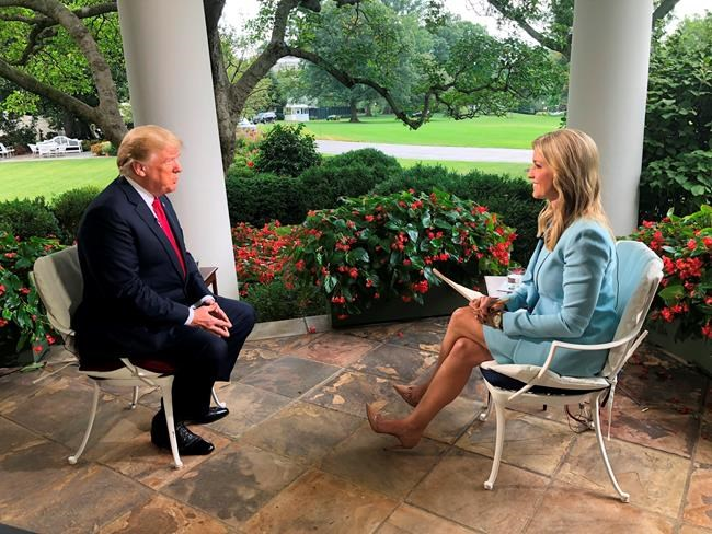 """In this video image released by Fox News, President Donald Trump is interviewed for the """"Fox & friends"""" television program by Ainsley Earhardt, shot Wednesday, August 22, 2018 at the White House in Washington. (Fox News via AP)"""