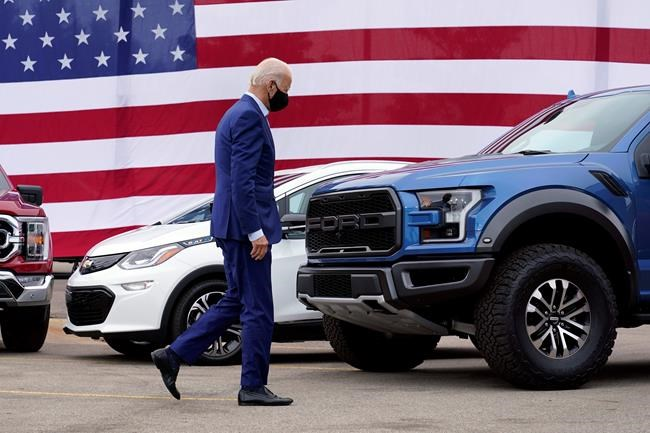 FILE - In this Sept. 9, 2020, file photo Democratic presidential candidate former Vice President Joe Biden leaves after speaking during a campaign event on manufacturing and buying American-made products at UAW Region 1 headquarters in Warren, Mich. (AP Photo/Patrick Semansky, File)
