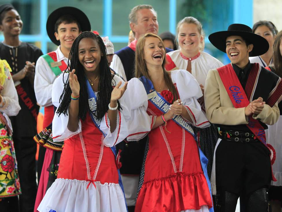 At the media conference to launch Folklorama 2012 (August 5-18); in front (from left) are Claudia Aguilera and Solanch Tamayo Alvare, both Youth Ambassadors for the Cuba Va!