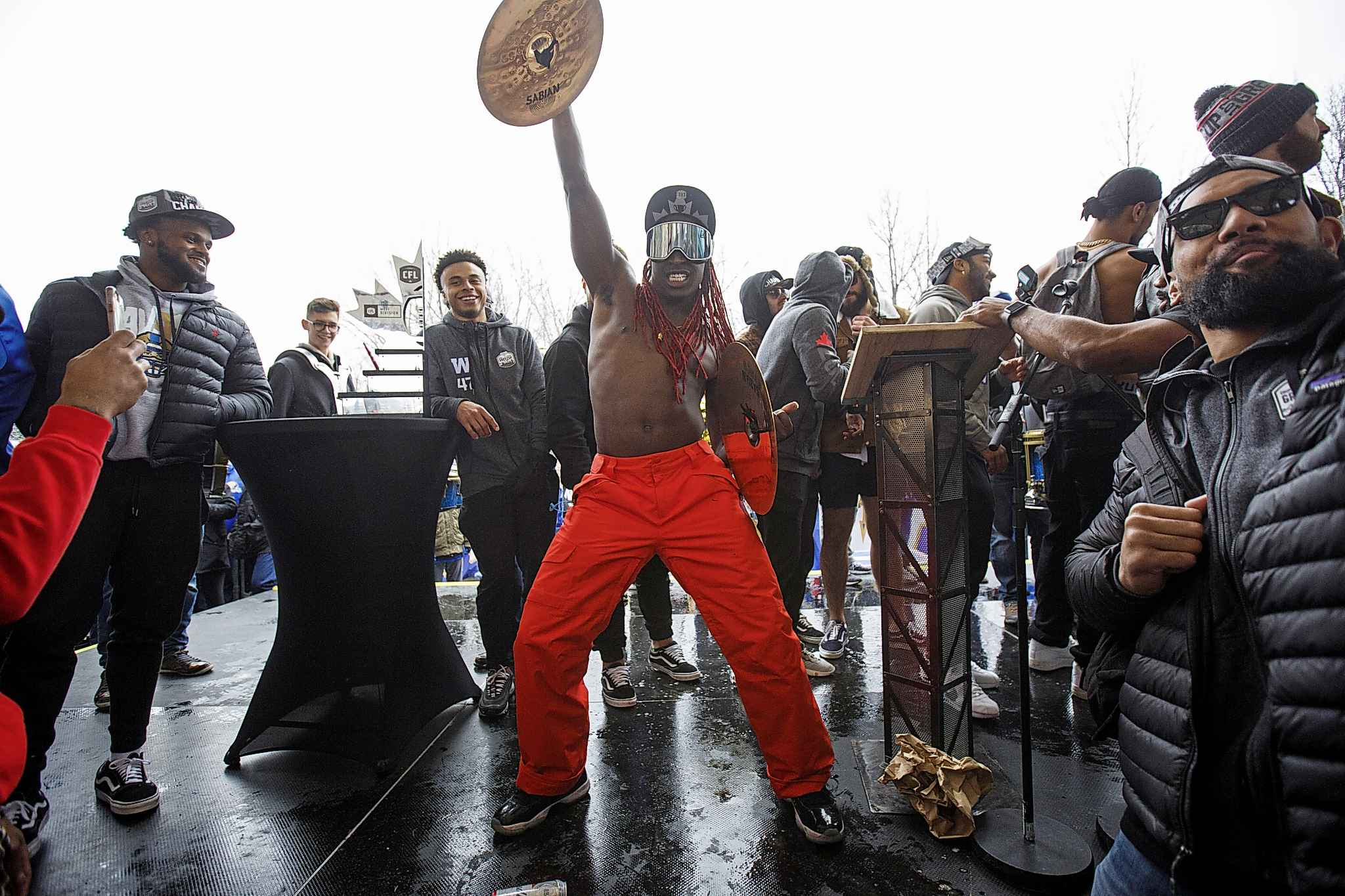 Lucky Whitehead treated the celebration like a day at the beach. (Mike Deal / Winnipeg Free Press)