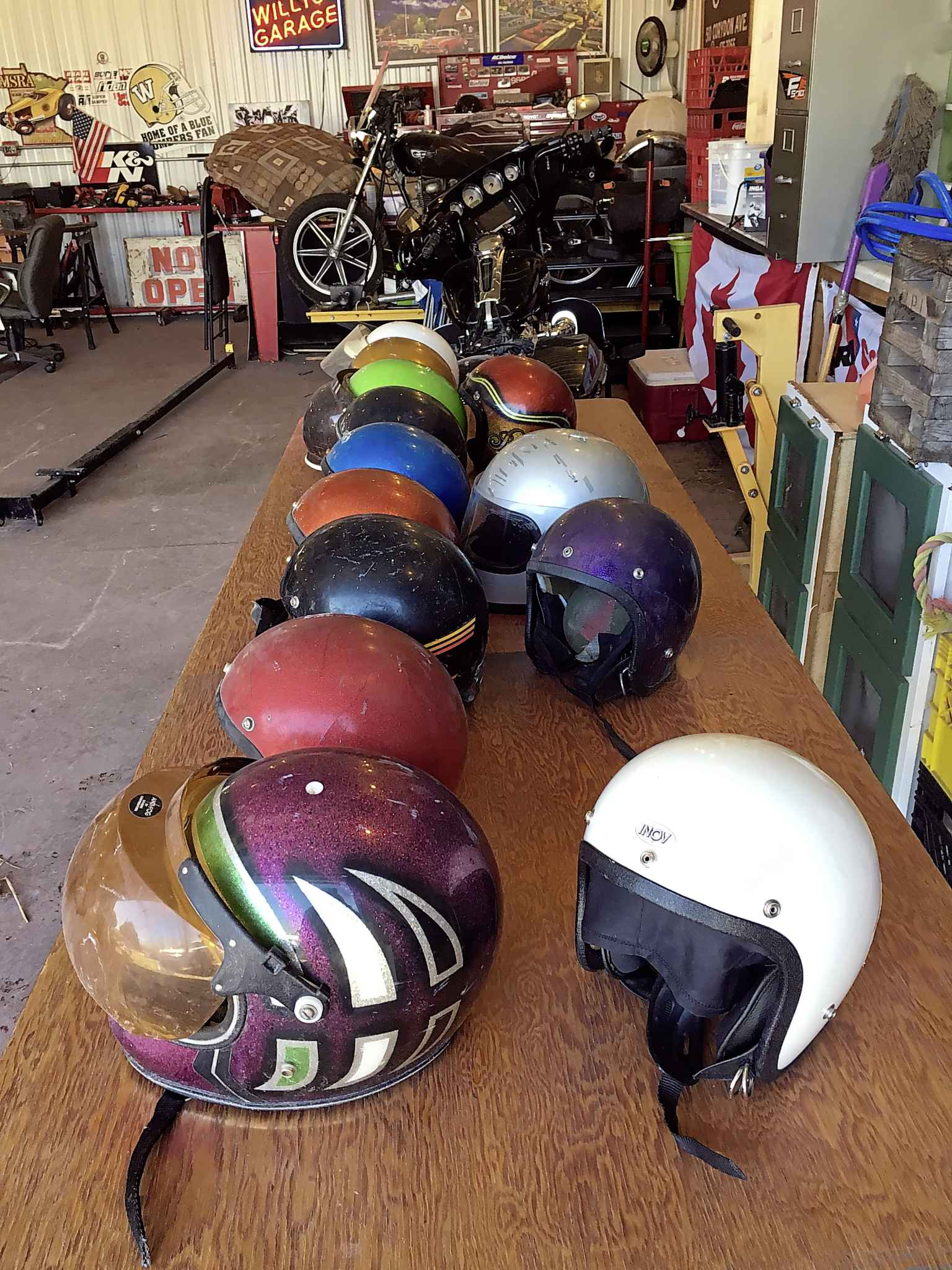 Willy also has a helmet collection. (Willy Williamson / Winnipeg Free Press)