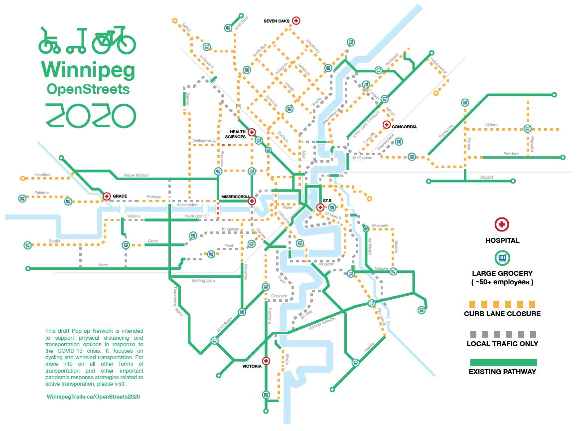 This draft Pop-up Network is intended  to support physical distancing and  transportation options in response to the COVID-19 crisis. It focuses on cycling and wheeled transportation. (Supplied / WinnipegTrails.ca)