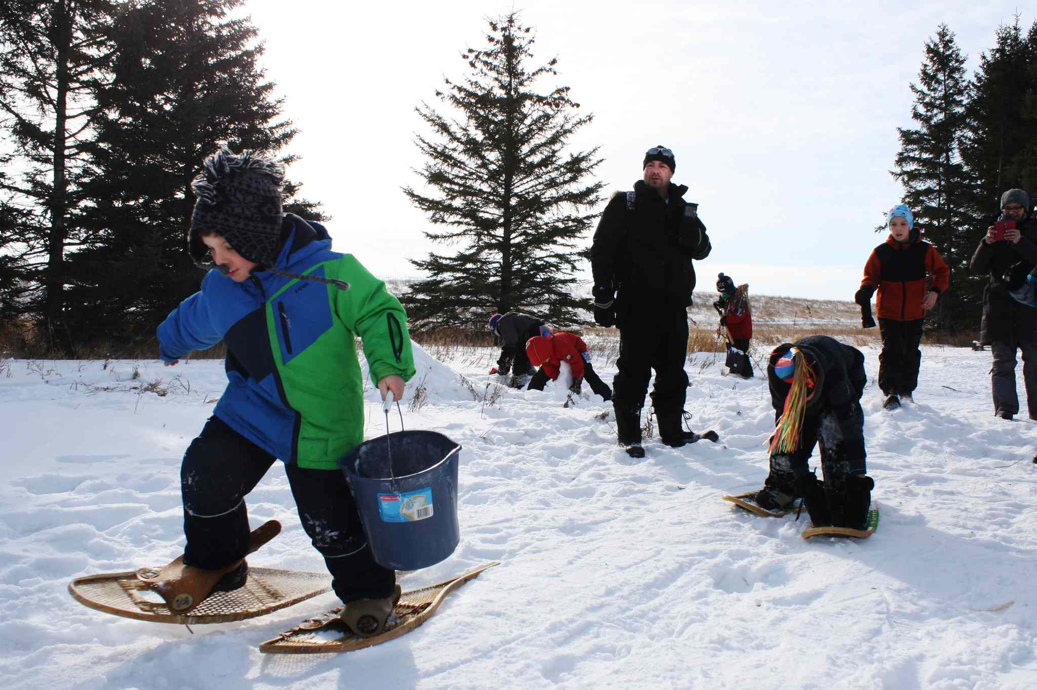 Cub Scouts crossing: participants in the 45th Klondike Derby make their way through the ropes course in La Salle, Manitoba on Sunday.