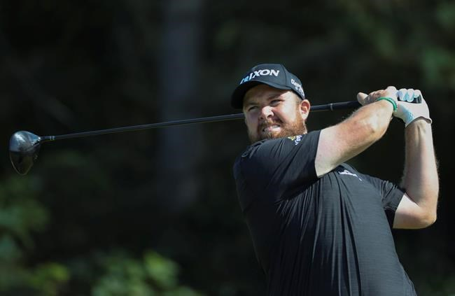 Ireland's Shane Lowry tees off on the 5th hole during the third round of the British Open Golf Championships at Royal Portrush in Northern Ireland, Saturday, July 20, 2019.(AP Photo/Peter Morrison)