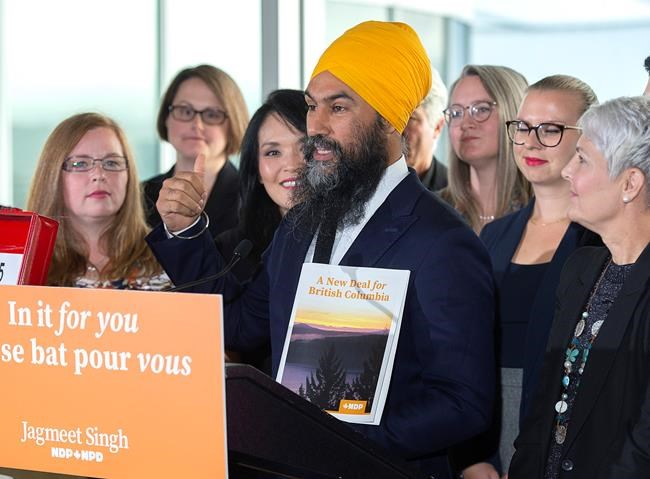 NDP Leader Jagmeet Singh announces plans to deal with the crisis around the price of housing as makes a campaign stop in Vancouver on Wednesday, Sept. 25, 2019. THE CANADIAN PRESS/Andrew Vaughan