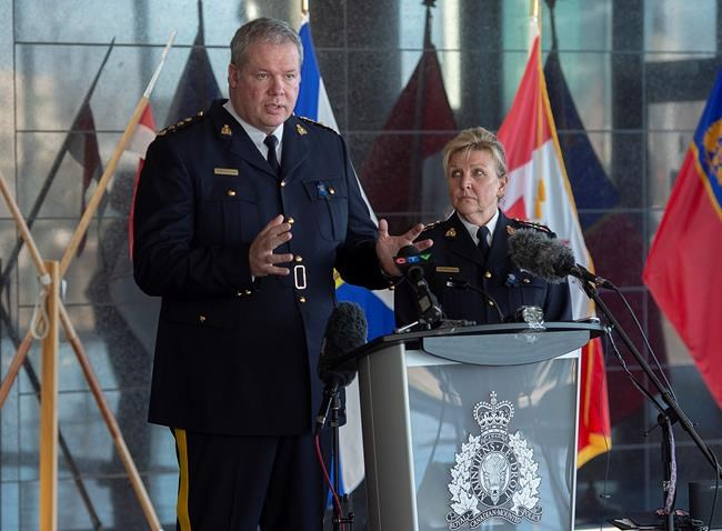 RCMP Chief Superintendent Chris Leather, left, and Assistant Commissioner Lee Bergerman field questions a news conference at RCMP headquarters in Dartmouth, N.S. on Sunday, April 19, 2020. More than ten people have been killed, including RCMP Cst. Heidi Stevenson, after several incidents in Portapique, and other Nova Scotia communities. Alleged killer Gabriel Wortman, 51, was shot and killed by police. THE CANADIAN PRESS/Andrew Vaughan