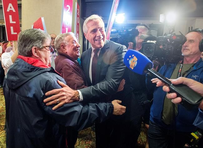 Premier Dwight Ball makes his way through the crowd after winning the provincial election in Corner Brook,Newfoundland and Labrador on Thursday, May 16, 2019. THE CANADIAN PRESS/Andrew Vaughan