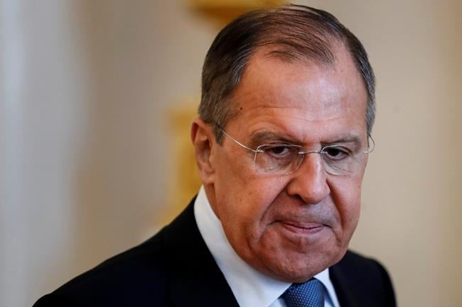 """Russian Foreign Minister Lavrov attends talks with his Dutch Foreign Minister Halbe Zijlstra during their meeting in Moscow, Russia, Friday, April 13, 2018. Lavrov said Friday Russian experts inspected the site of the alleged attack in the town of Douma and found no trace of chemical weapons. He said Moscow has """"irrefutable information that it was a fabrication."""" (AP Photo/Sergei Poliakov)"""