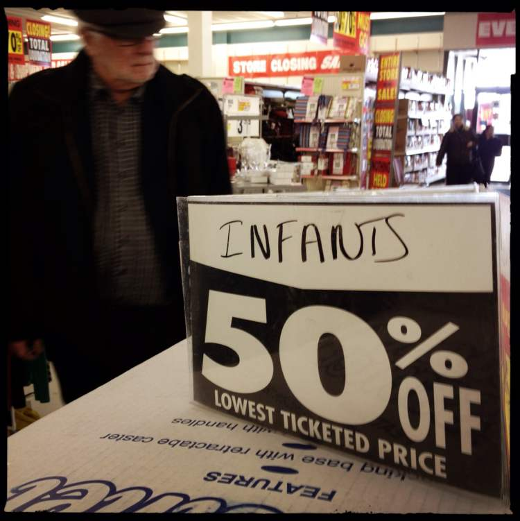 Infants were not for sale at this location� (Mike Deal / Winnipeg Free Press)