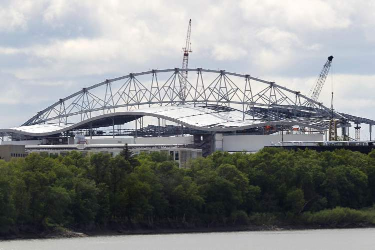 The new Investors Group Stadium viewed from across the Red River on River Road.