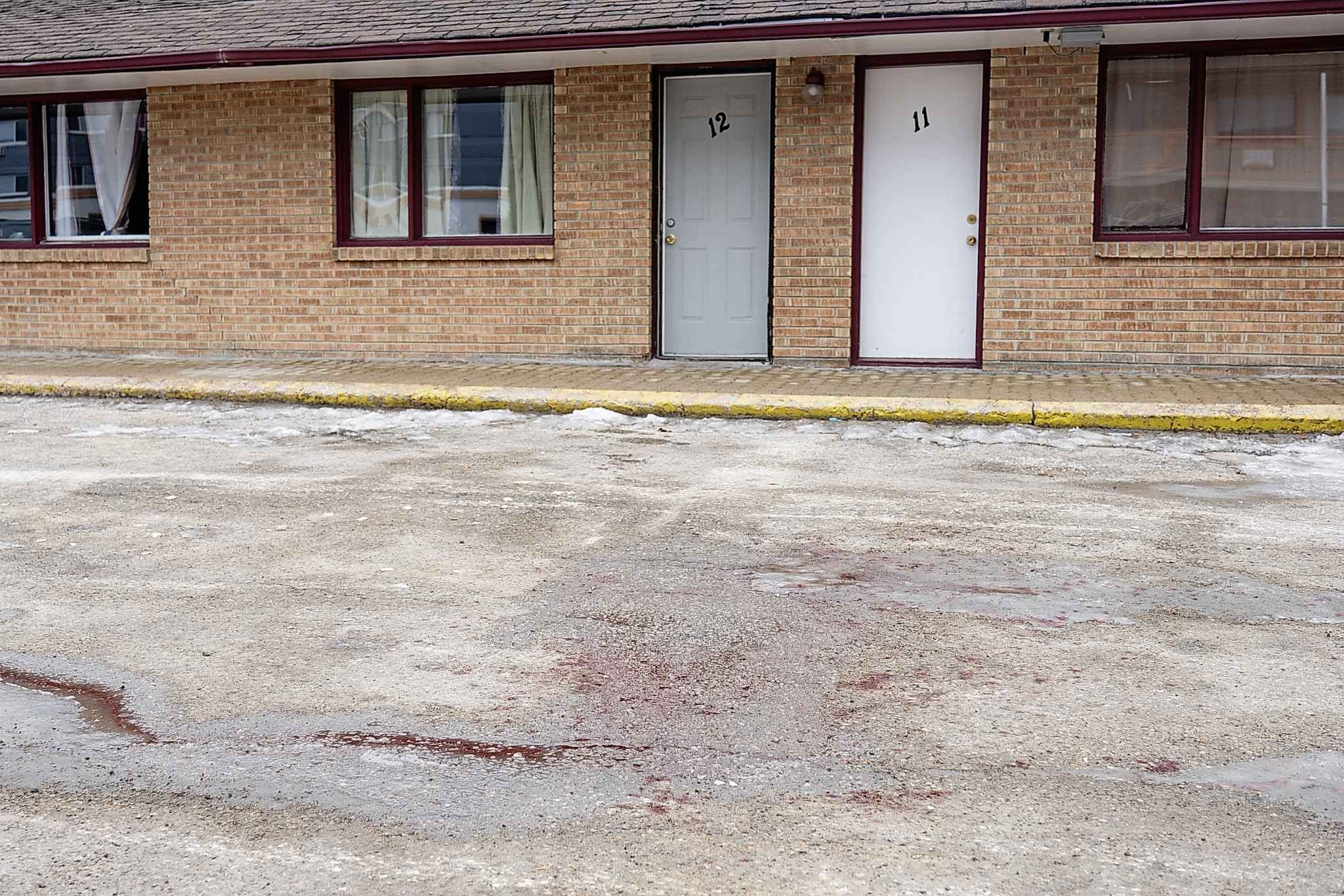Blood stains the parking lot of the Capri Motel on Pembina Highway where a violent dog attack occurred early Saturday morning. (Daniel Crump / Winnipeg Free Press)</p>