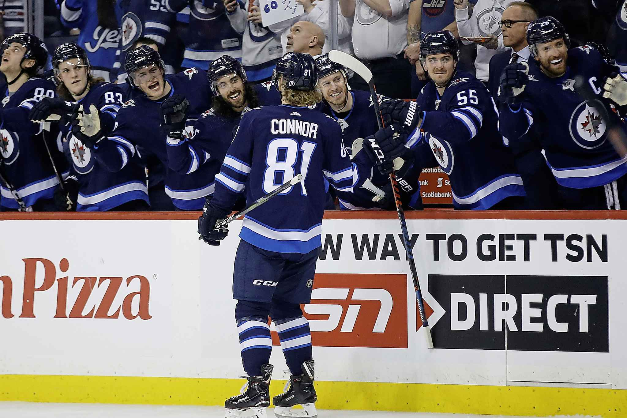JOHN WOODS / THE CANADIAN PRESS</p><p>Winnipeg Jets celebrate from the bench as Kyle Connor (81) skates by during second period NHL action against the Nashville Predators, in Winnipeg on Saturday, March 23, 2019.</p>
