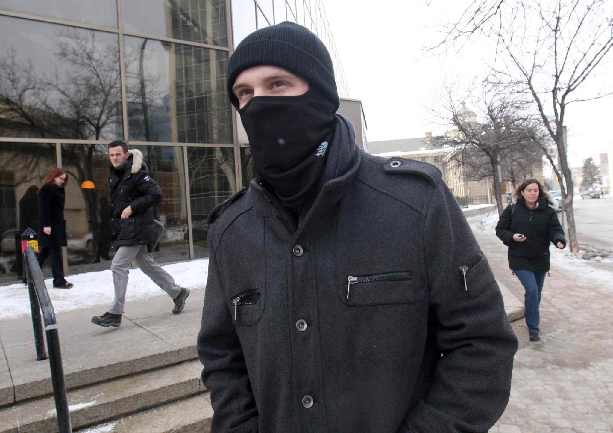 Aaron Driver leaves the Manitoba Courts this afternoon.