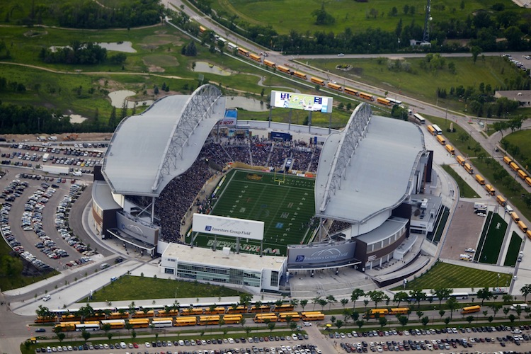 Another view of Investors Group Field from the air prior to kickoff Thursday night.