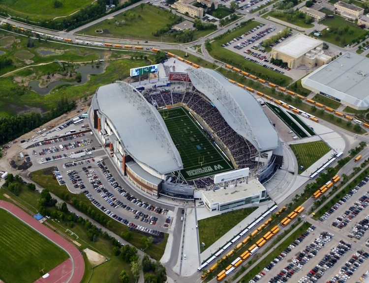Investors Group field is seen from the air prior to kickoff. (Boris Minkevichh / Winnipeg Free Press)