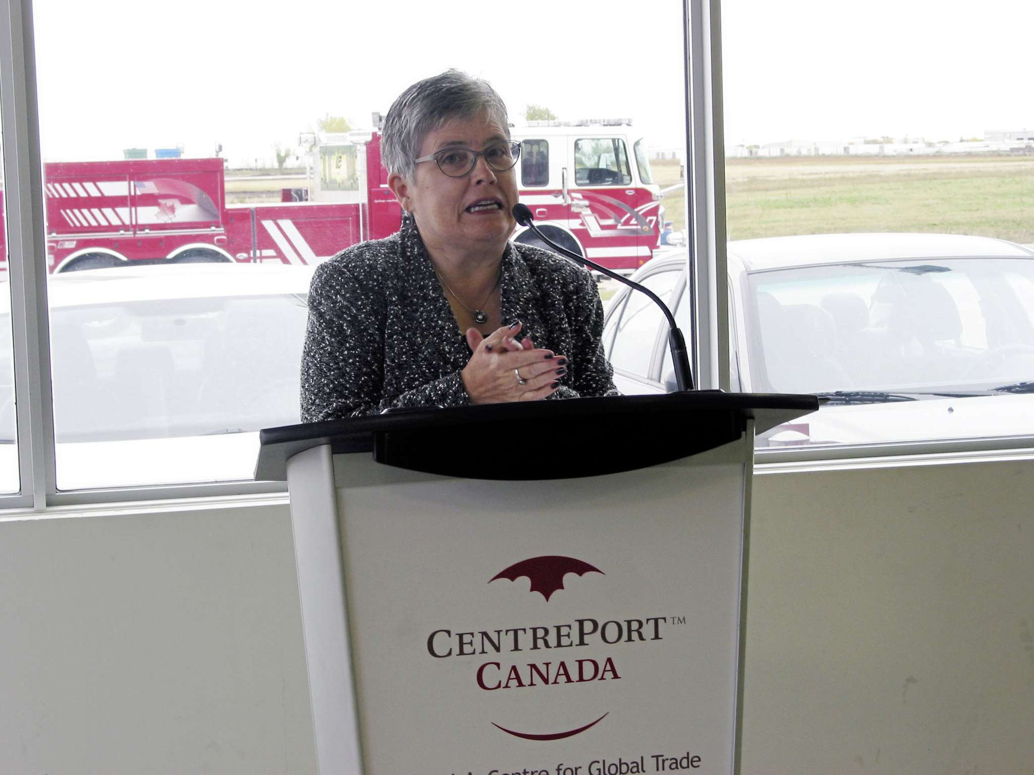 Rosser reeve Frances Smee spoke at the official announcement of Freightliner Manitoba and Canada West Limited's purchase of land within Brookside Industrial Park Phase III in Rosser.