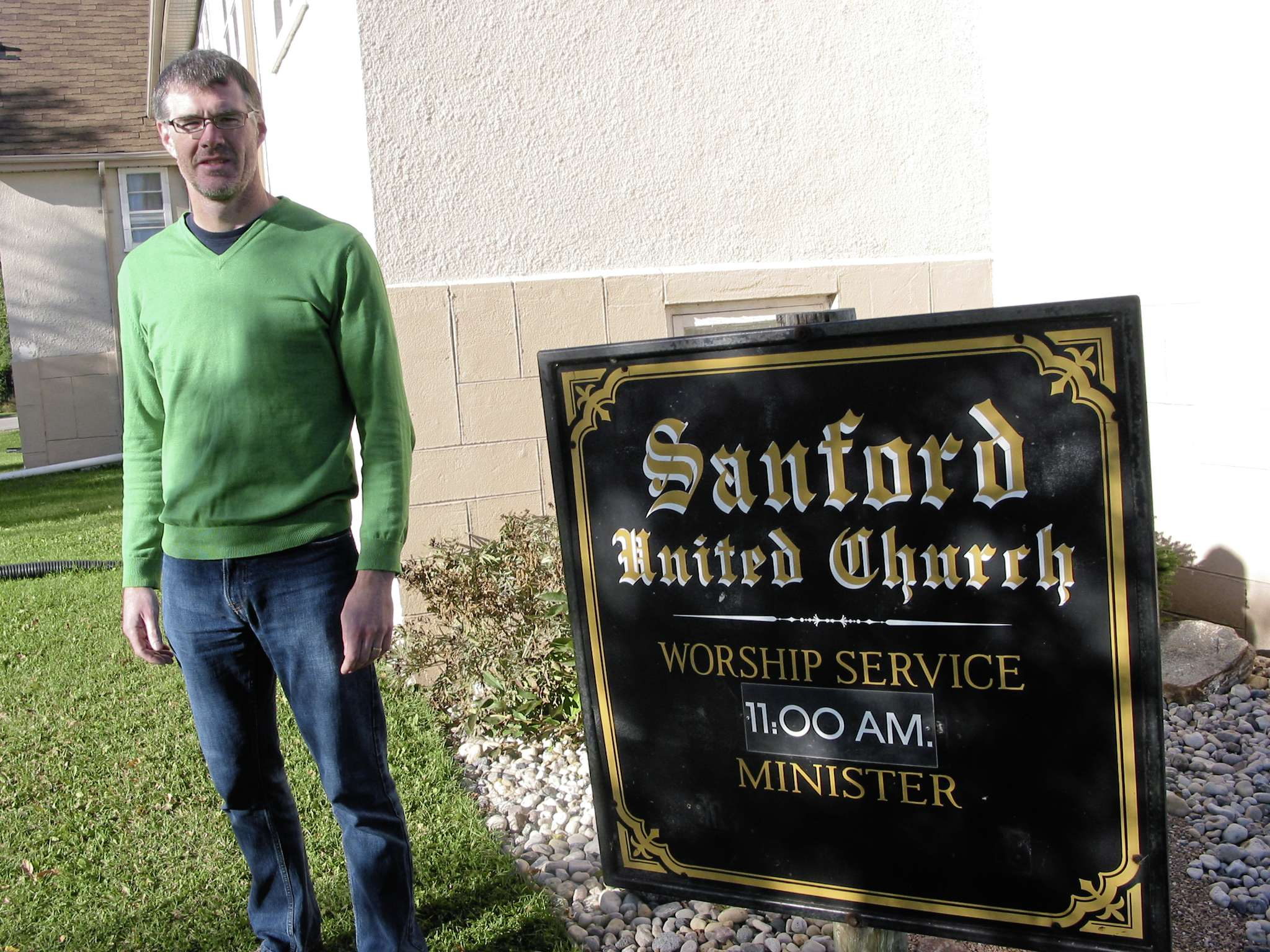Sanford United Church member Jamie Scharf and wife Onnolee (not pictured) chose to move to Sanford in part because of the community's church.