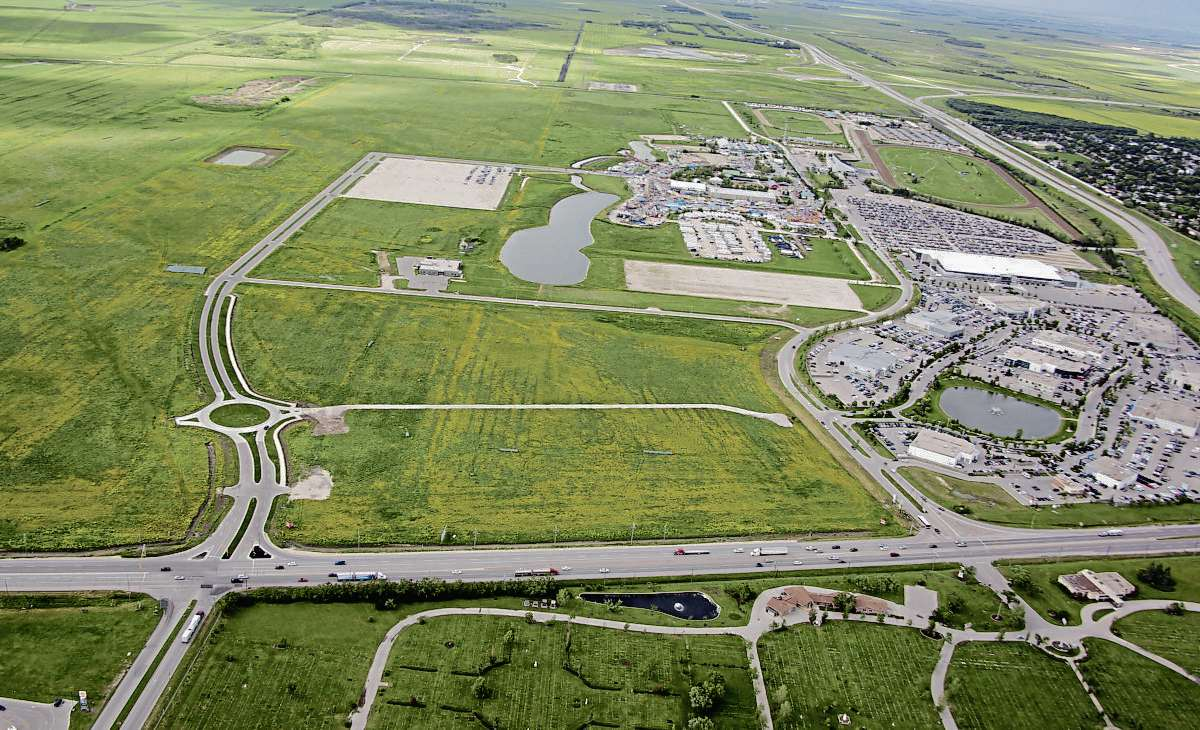 This aerial view of the Red River Exhibition's Association's 460-acre property shows the new Festival Drive at the left that leads to a 2,000-vehicle parking lot.