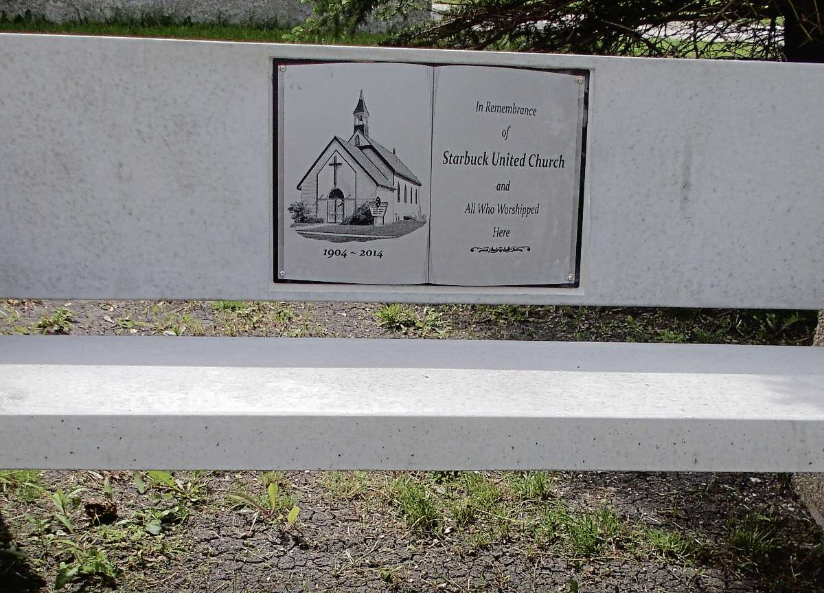 This inscription is placed on one of two memorial benches located on the former site of Starbuck United Church, which was destroyed in a fire in May 2014. The other bench bears an inscription in memory of the church's longtime organist Joanne Schrof who died of cancer in 2014.