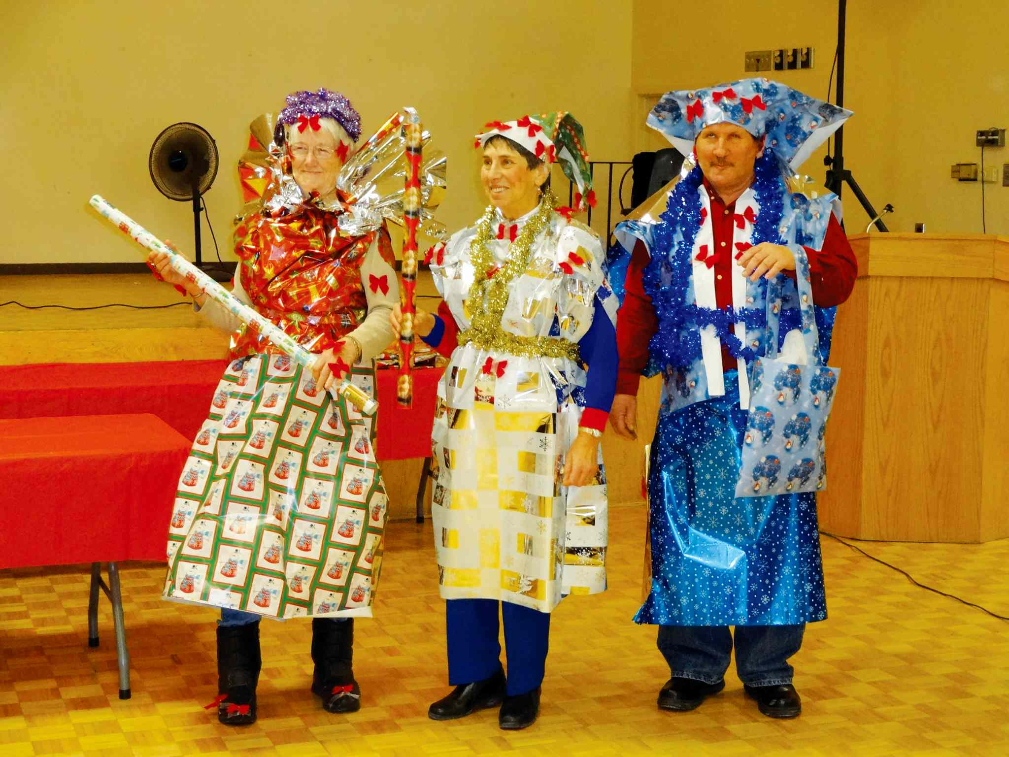 Participants at last year's Macdonald Services to Seniors Christmas lunch really got wrapped up in things.