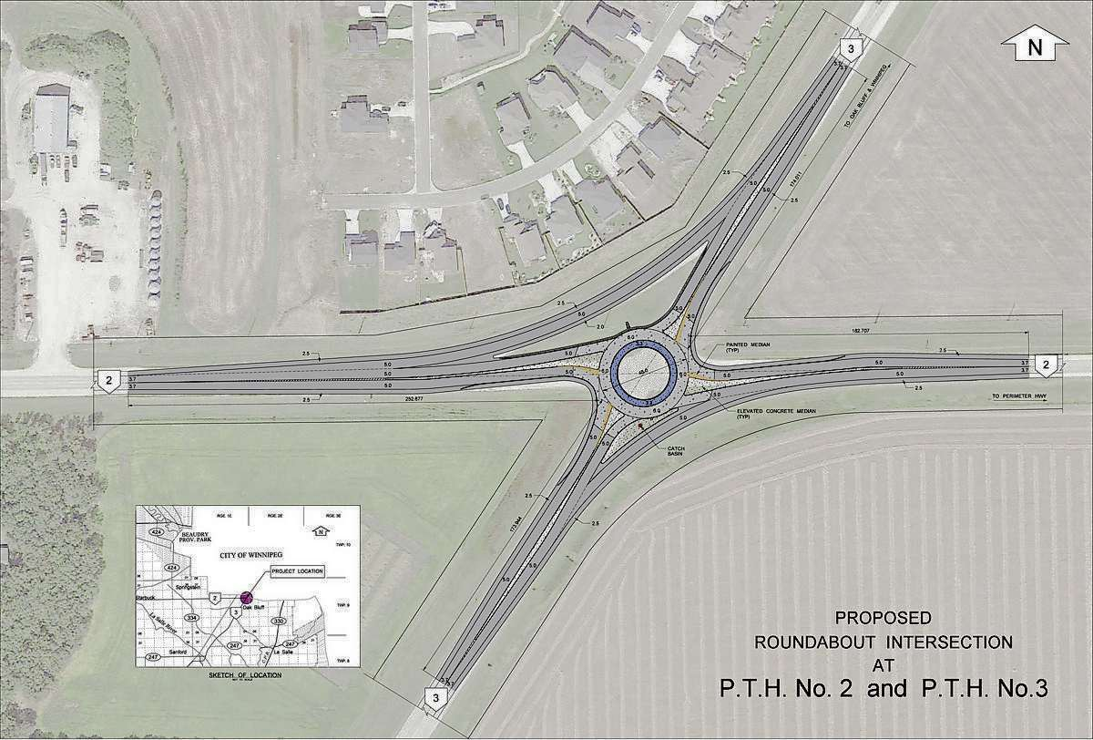 This sketch shows the proposed roundabout to be constucted at Highways 2 and 3 in Oak Bluff.