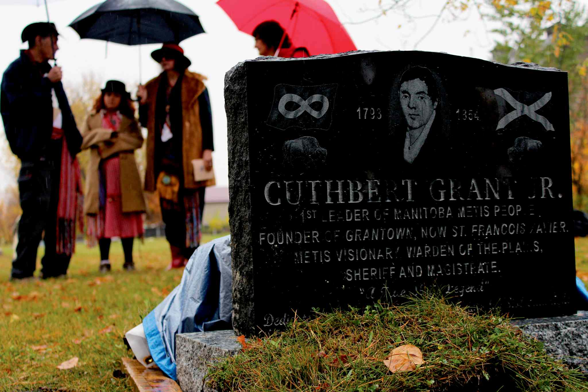 This marker in memory of Métis leader Cuthbert Grant was placed in the St. Francois Roman Catholic Parish cemetery on Sept. 28, 2013.