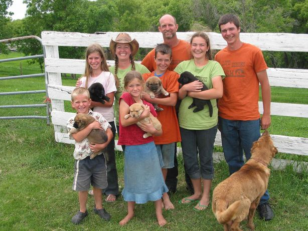 The Lawrenson family runs Morning Sound Farm near Sanford, offering farm tours. (Front row, left) Takis and Phoebe; (middle row, left) Avril, Heath and Celeste; (back row, left) Danea, Chuck and Mercer are shown with a few of their animals.