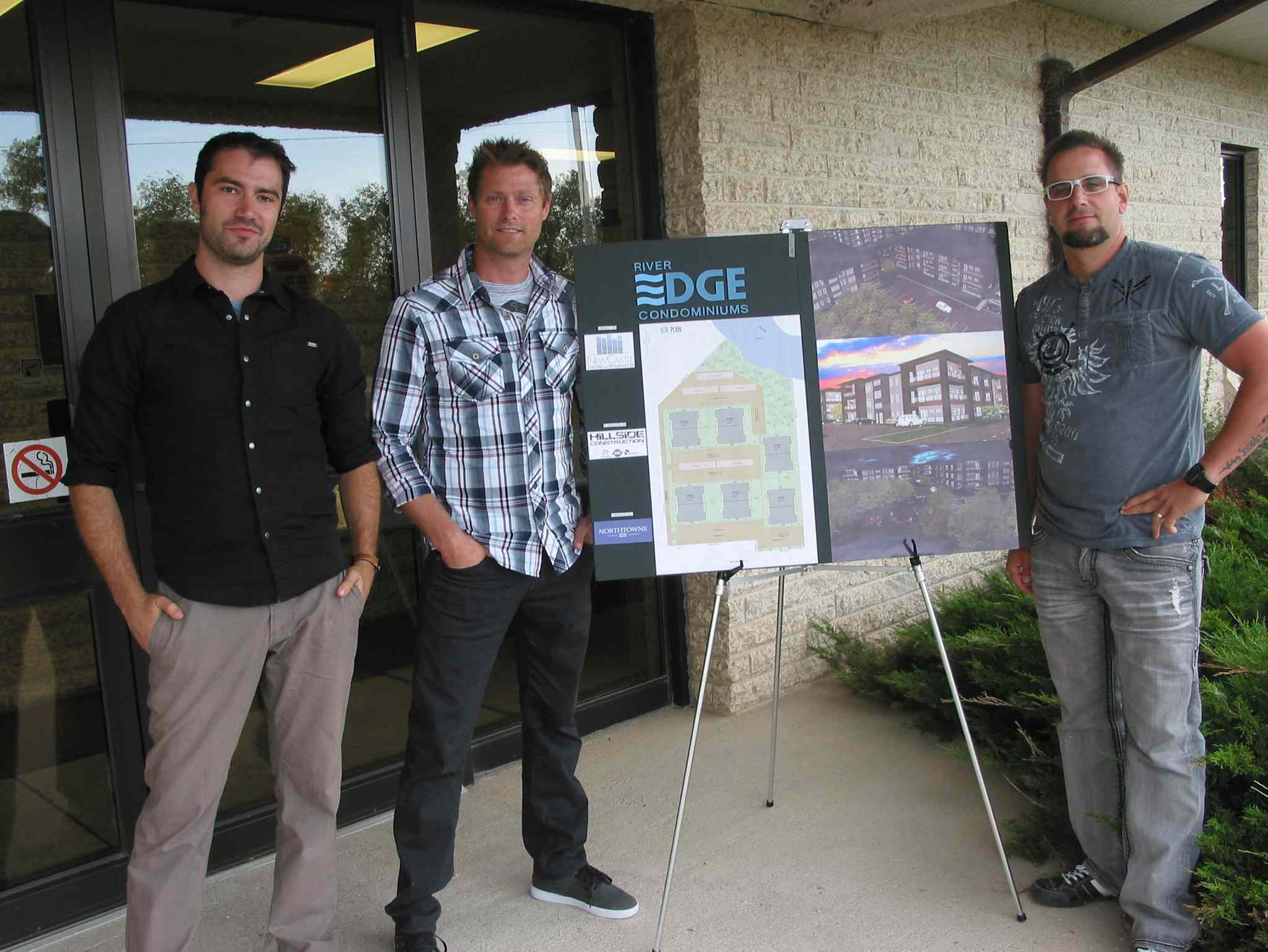 (Left) Terry Thiessen, drafting technician with Hillside Construction, Josh Friesen, a partner with Newcastle Development, and Travis Friesen, president of Hillside Construction, attended the RM of Macdonald council meeting on Aug. 12 to discuss their River Edge  condominium project in La Salle. A conditional use permit has been approved for the project, though there are still other steps to be taken before construction can begin.