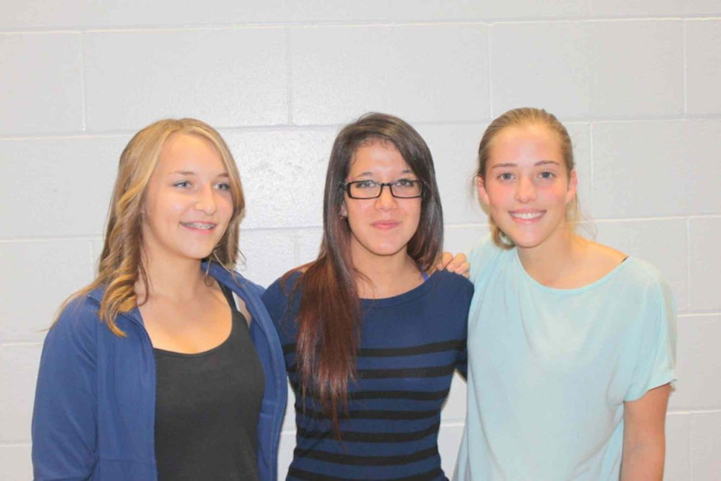 The winners of Sanford Collegiate's General Proficiency Awards for 2012-13 are: (from left) Ally Dunn, Grade 9; Michelle Romanuk, Grade 10; and Maizy North, Grade 11.