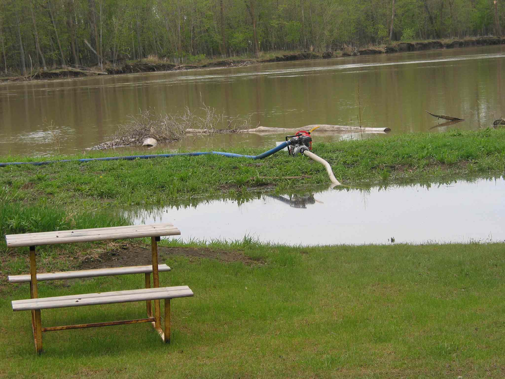 Flood water was being pumped back into the Assiniboine River at the Welcomestop campground in the RM of St. Francois Xavier on May 28.