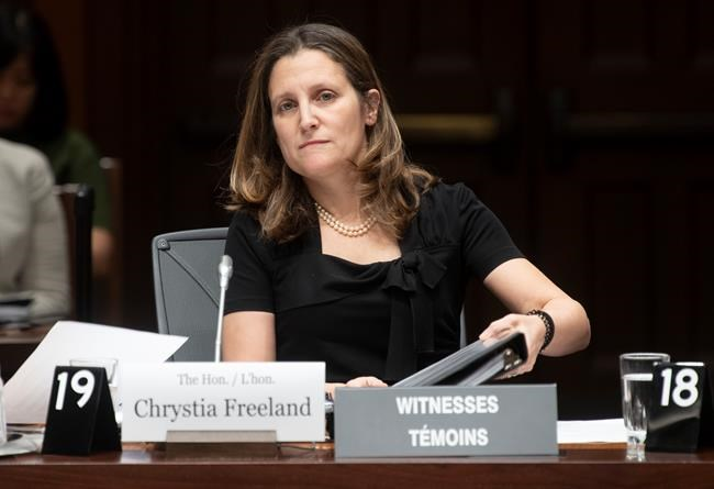 "During a midday press conference, Chrystia Freeland said she wasn't ""going to pre-empt future announcements."" (Adrian Wyld / Canadian Press files)"