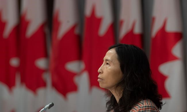 Chief Public Health Officer Theresa Tam listens to a question during a news conference in Ottawa, Monday April 13, 2020. THE CANADIAN PRESS/Adrian Wyld
