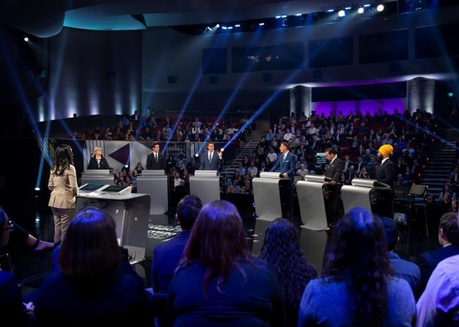 Federal leaders debate in front of a live audience during the Federal leaders debate in Gatineau, Que. on Monday, October 7, 2019. THE CANADIAN PRESS/Justin Tang