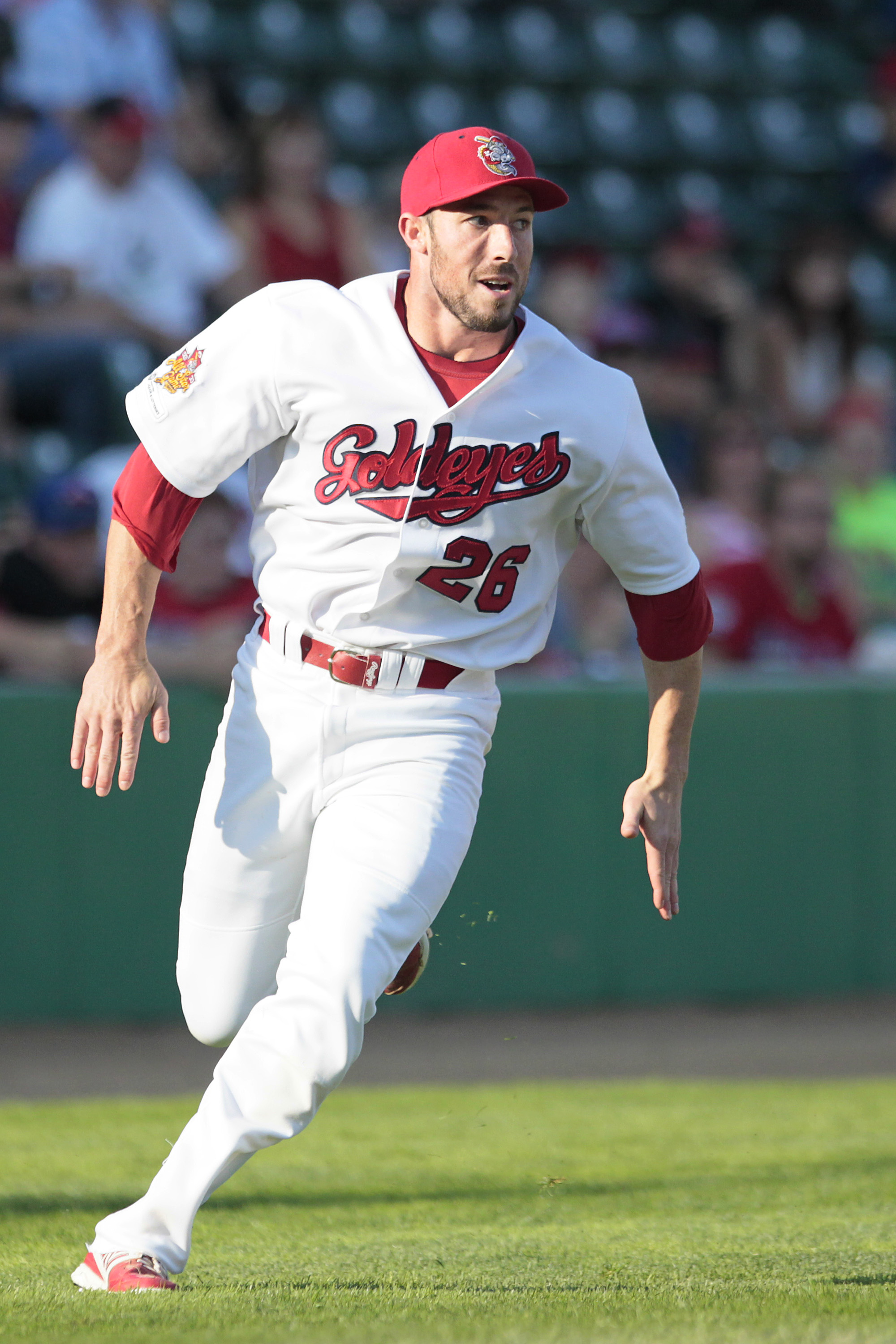Goldeyes' Donnie Webb (26) rounds third in the Fastest Baserunner contest at the All-Stars Skills Competition.