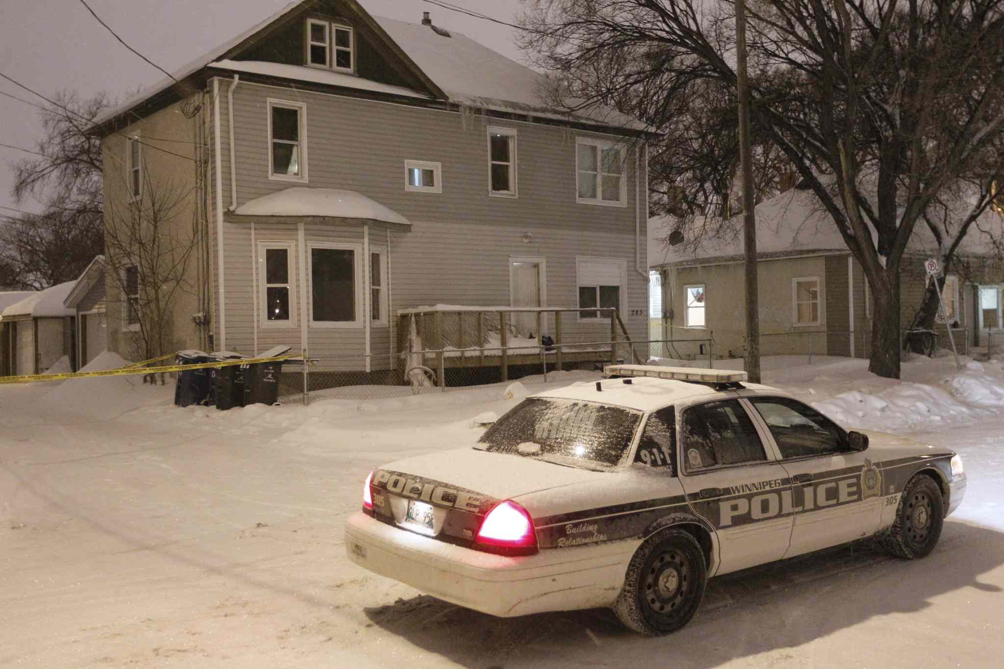 Police investigate a suspicious death at 283 Andrews St. Sunday evening.