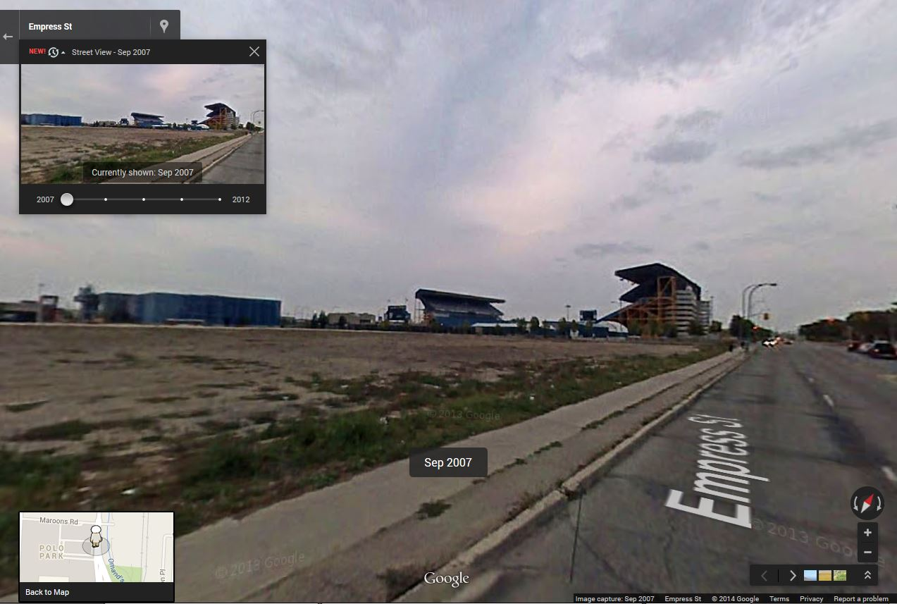 The site of the former Winnipeg Arena in September 2007. (Google)