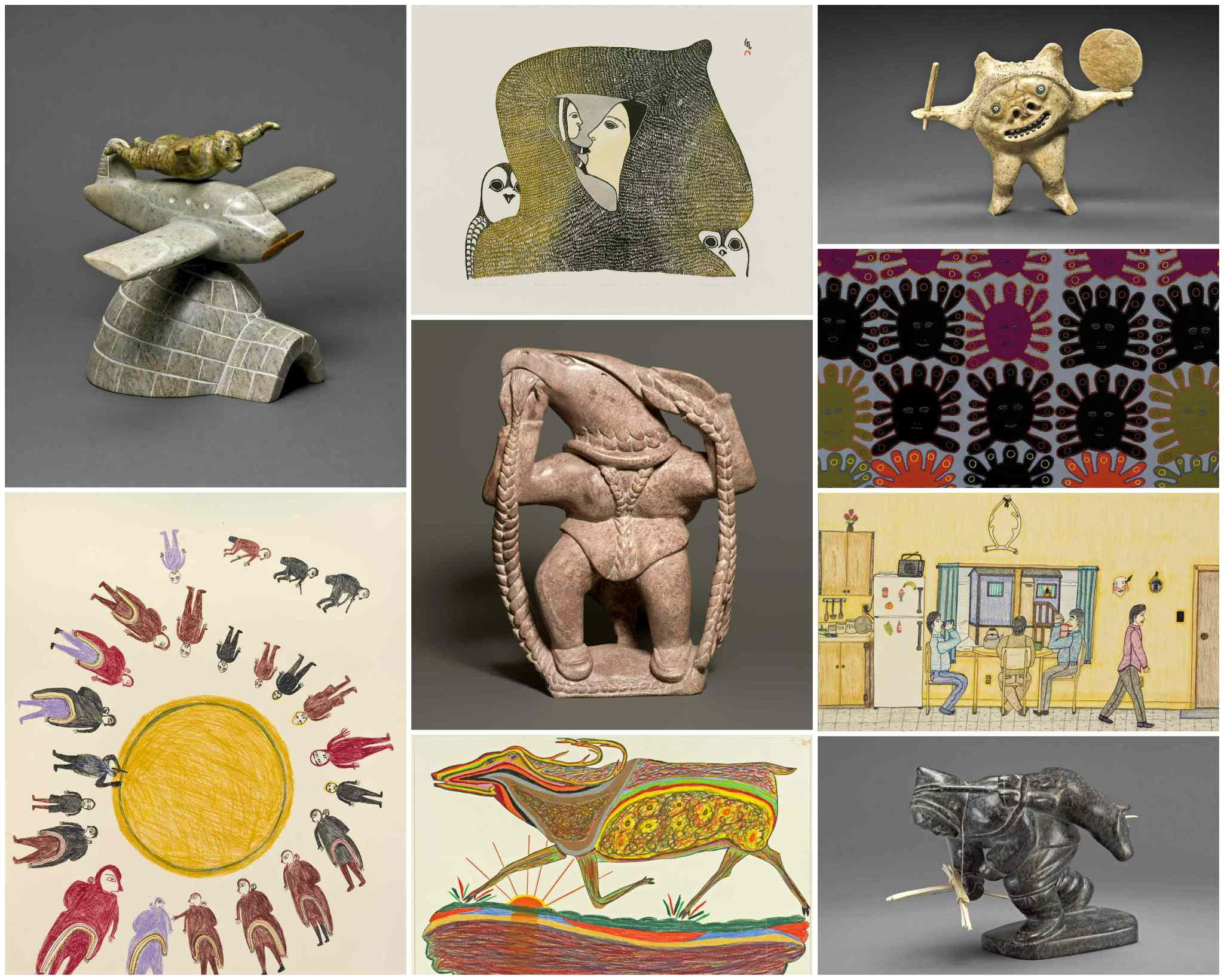 From the collection of the Winnipeg Art Gallery (clockwise from top left): <I>Airplane</i> by David Ruben Piqtoukun (1995), <I>Arctic Madonna</i> by Pitaloosie Saila, printmaker Simigak Simeonie (1980), <i>Double Shaman Drum Dancer</i> by Nelson Takkiruq (1989), detail of </I>Thirty Faces</i> by Marion Tuu'luq (1974), <I>Tea Drinkers</i> by Annie Pootoogook (2001-02), <i>Man Carrying a Caribou</i> by Charlie Sivuarapik (1954), <i>The Great Male Caribou</i> by William Noah (1971), <i>Drum Dance</i> by Luke Anguhadluq (1970), and in the centre <i>Natturalik</i> by Kiugak Ashoona (2007).