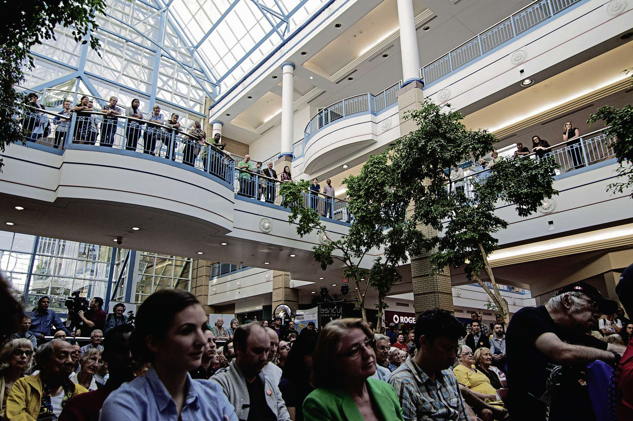A large crowd gathered at Portage Place on Sept. 16 to hear the first political debate for the Winnipeg Centre riding.