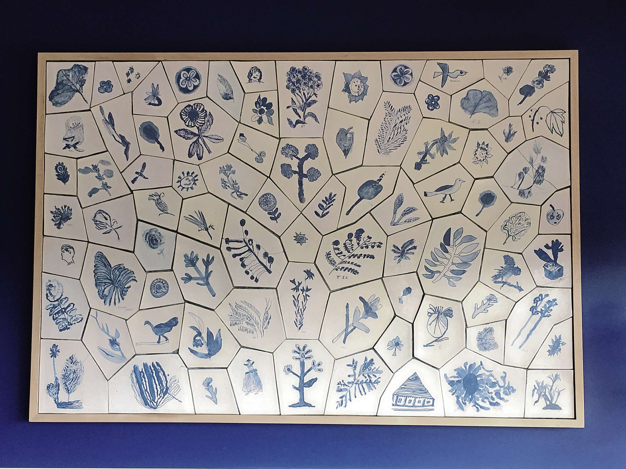 Toby Gillies' collaborative piece, titled Heirloom. It features drawings by workshop participants.