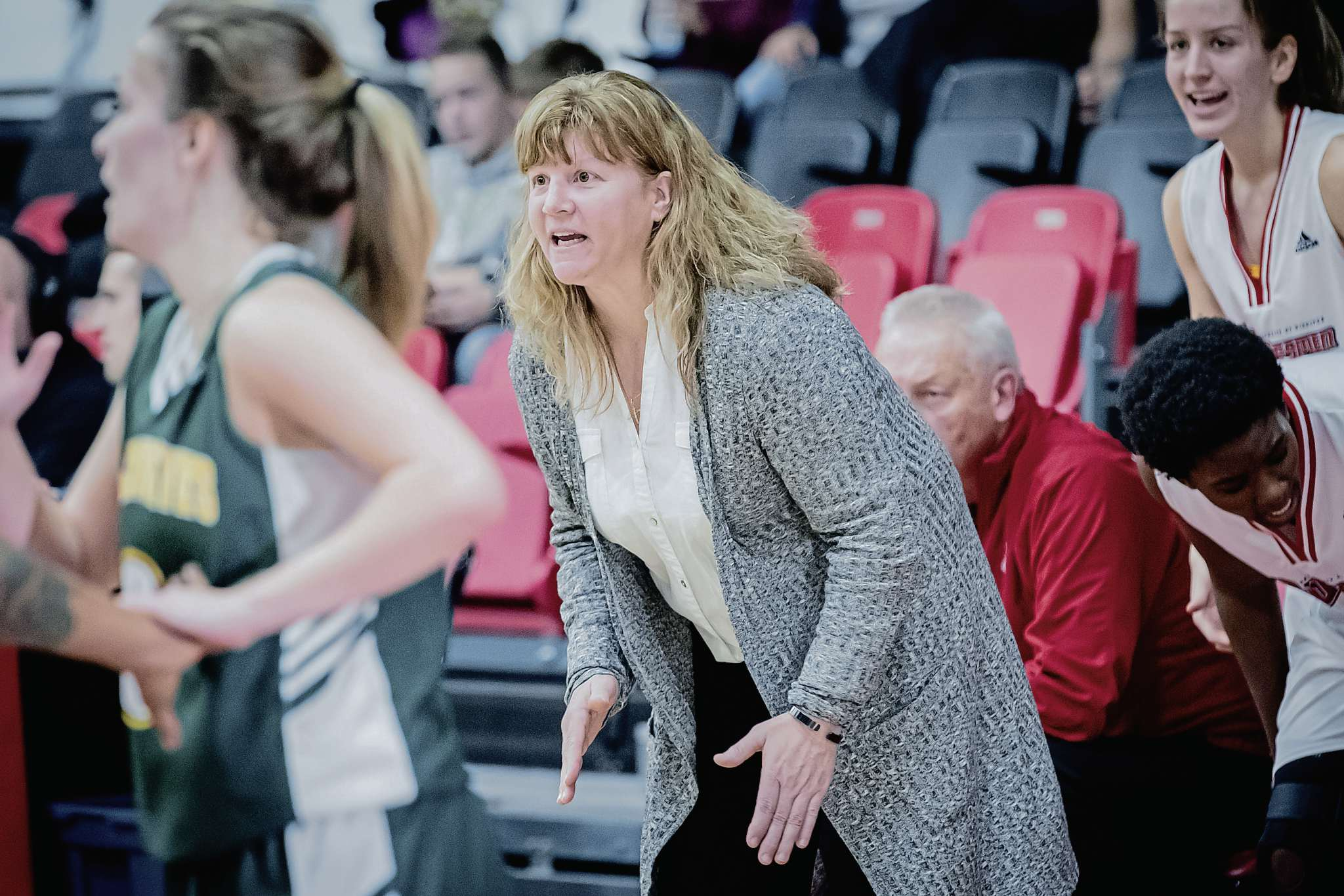 Tanya McKay has been coaching the Wesmen girls basketball team for over 20 years. She was named this year's coach of the year for the Canada West conference.