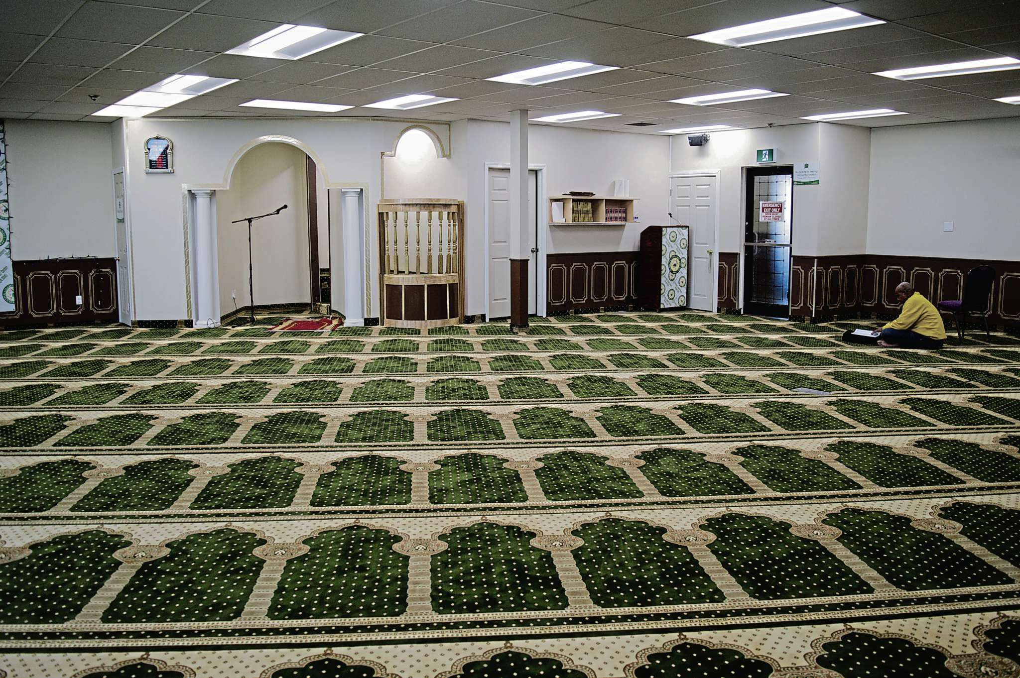 Masjid Bilal features comfortable carpeting with a pattern that denotes which direction guests should pray to. The entire remodel has cost approximately $150,000.