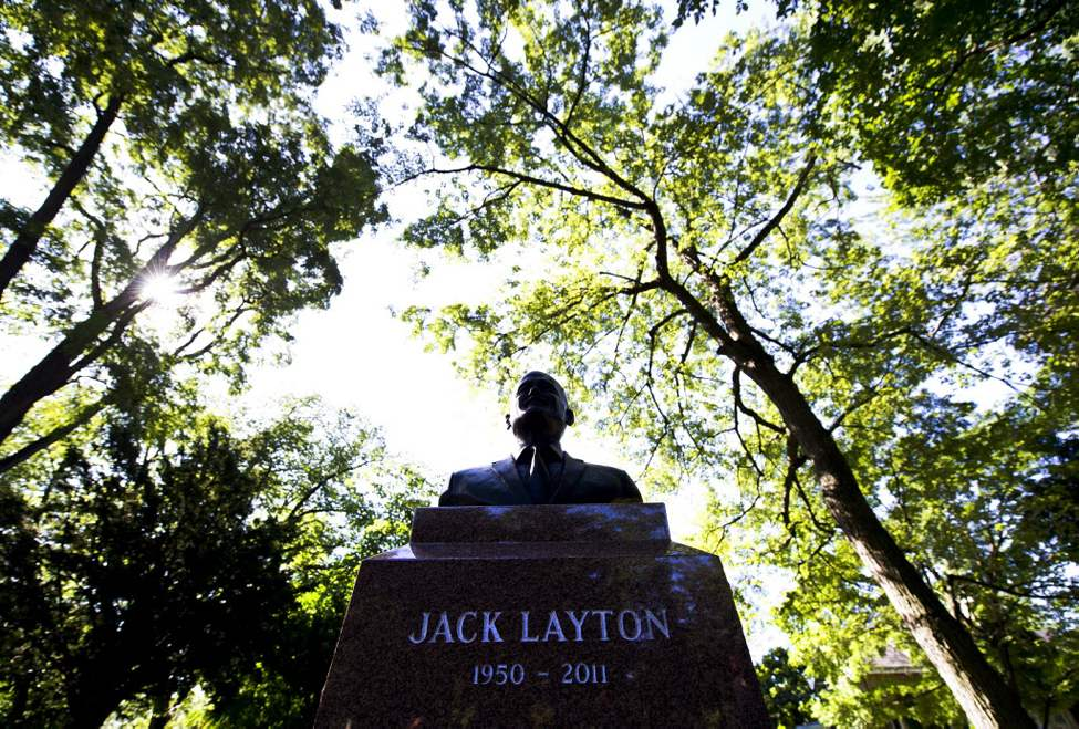 The new headstone and bust is shown in Toronto where Jack Layton's ashes will be spread by family on the one-year anniversary of his death. (The Canadian Press / Nathan Denette)